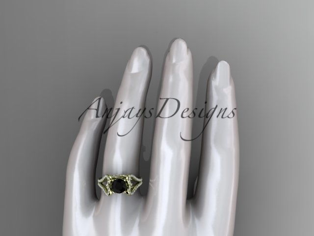 Heart element wedding ring, 14kt yellow gold heart engagement ring with a Black