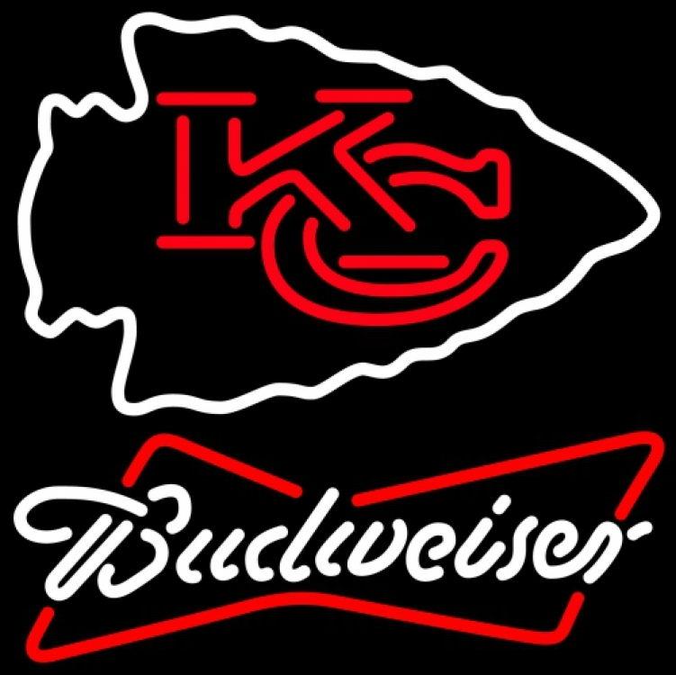 Nfl budweiser kansas city chiefs neon sign 16  x 16