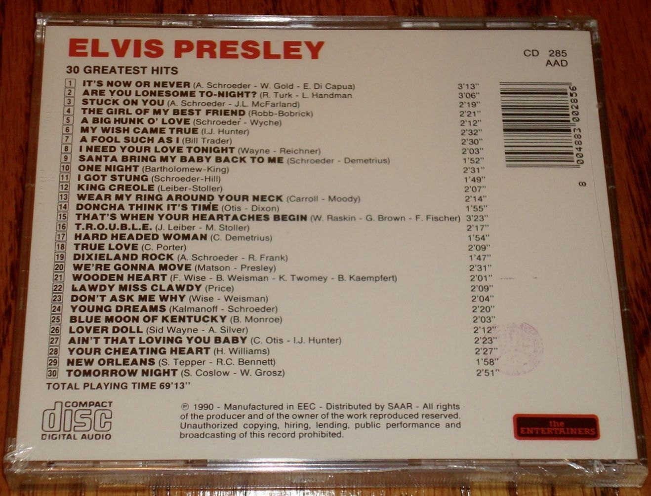ELVIS PRESLEY 30 Greatest Hits Import CD from Italy S/S