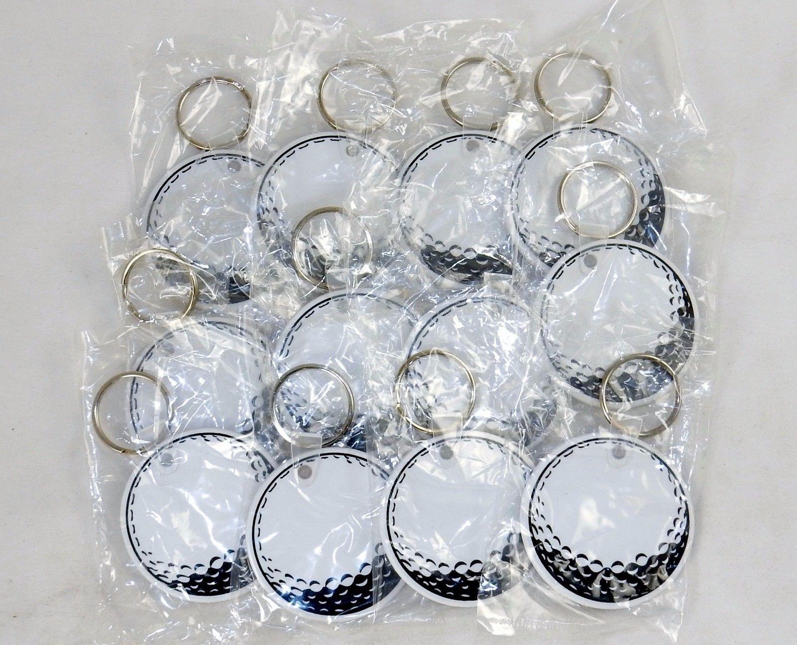"Lot of 12 Key Rings w/2"" Round, Flat, Sturdy Vinyl Fob, Baseball of Golf Ball"