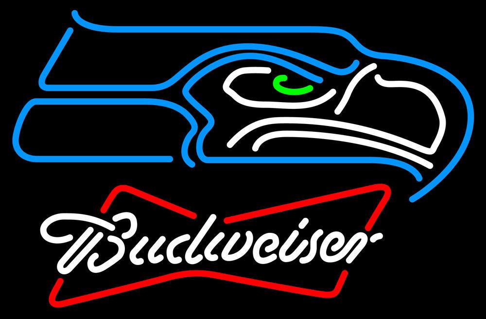 Nfl budweiser bowtie seattle seahawks neon sign 16  x 16