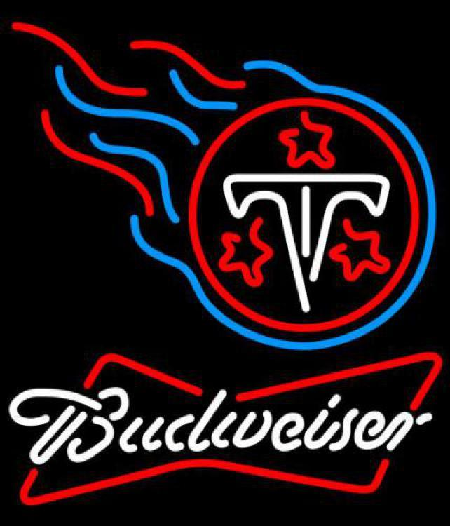 Nfl budweiser bowtie tennessee titans neon sign 16  x 16