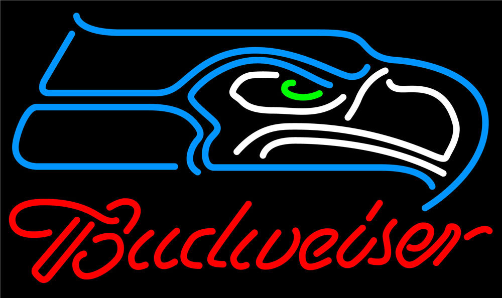 Nfl budweiser single line seattle seahawks neon sign 16  x 16