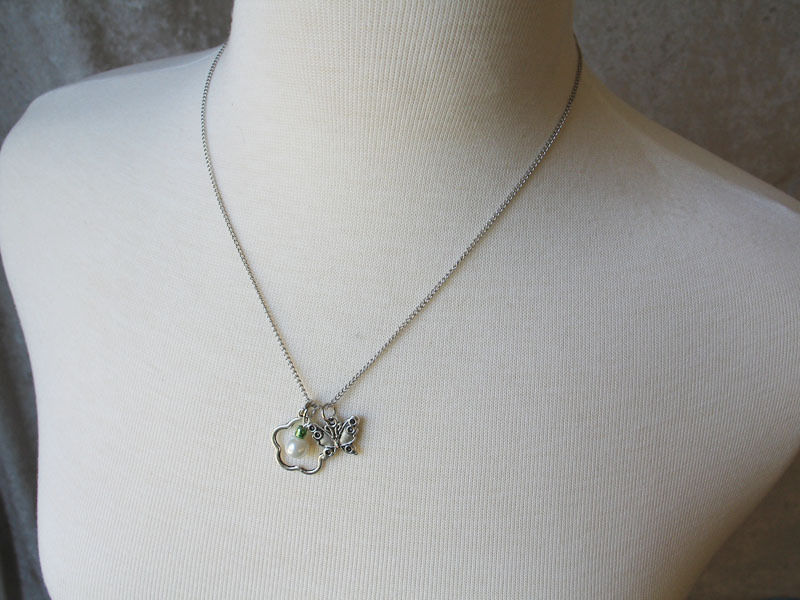White Pearl Bead with Flower and Butterfly Charm Necklace - 18 inch Curb Chain