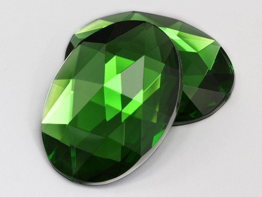 40x30mm Green Peridot H120 Flat Back Oval Acrylic Gemstones 4 PCS