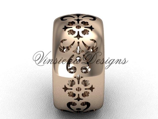 14kt rose gold floral engagement ring,wedding band VD10035G