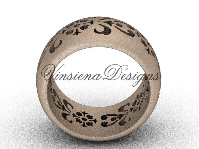 14kt rose gold floral matte finish engagement ring,wedding band VD10035G