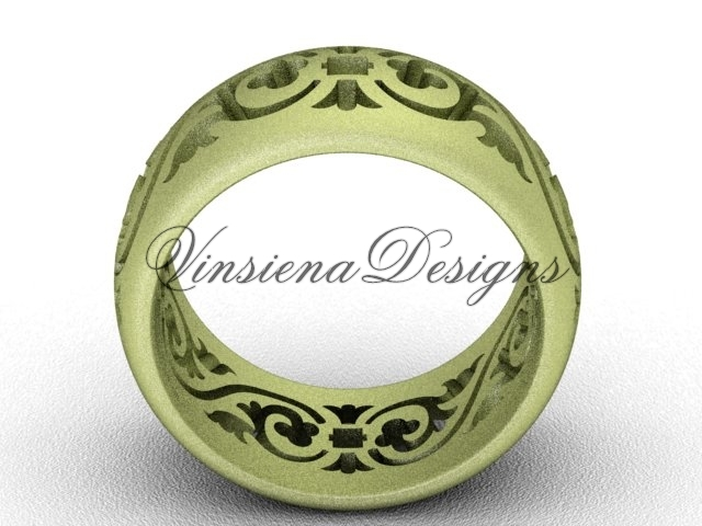 14kt yellow gold floral matte finish engagement ring,wedding band VD10036G