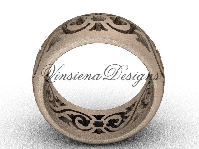 14kt rose gold floral matte finish engagement ring,wedding band VD10036G