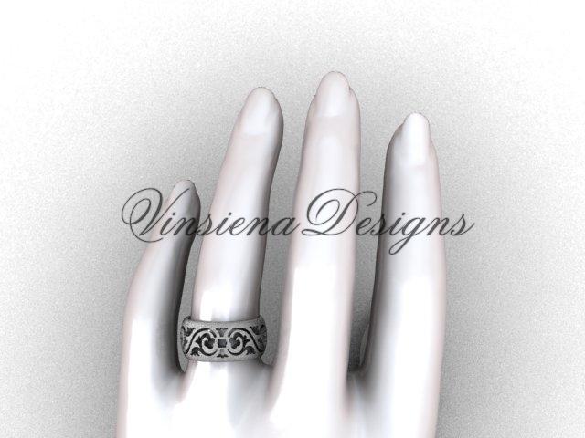 Platinum floral matte finish engagement ring,wedding band VD10036G