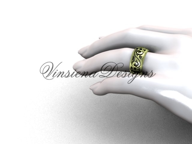 14kt yellow gold floral engagement ring,wedding band VD10036G