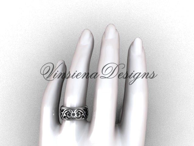14kt white gold floral engagement ring,wedding band VD10036G