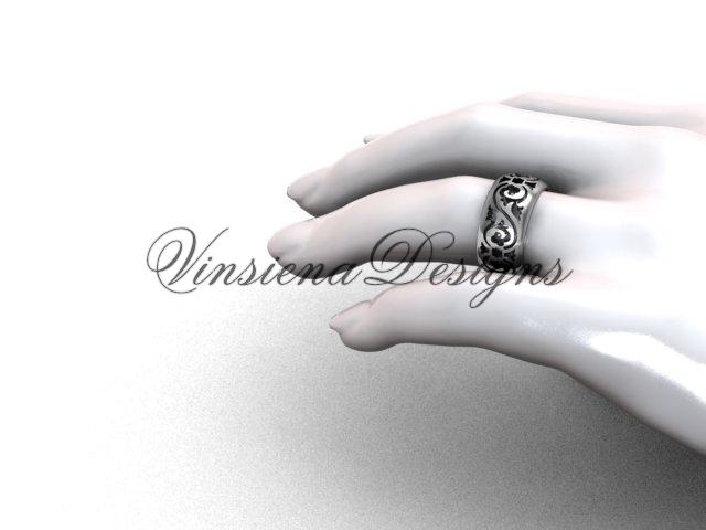 Platinum floral engagement ring,wedding band VD10036G