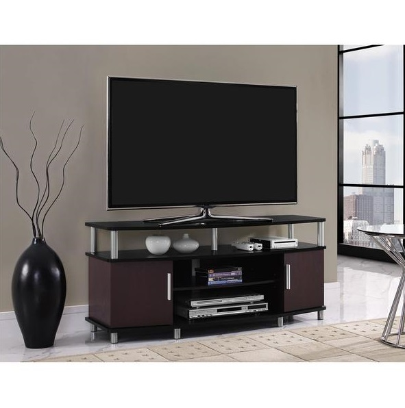 cherry black 50 inch entertainment center tv stand game room system storage entertainment. Black Bedroom Furniture Sets. Home Design Ideas