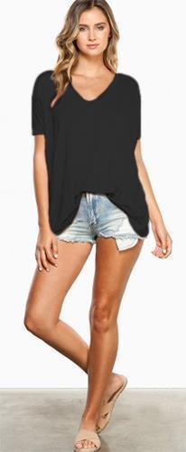 Authentic Black Piko Bamboo Short Sleeve V Neck Loose Boxy Tee Shirt Cute NWT