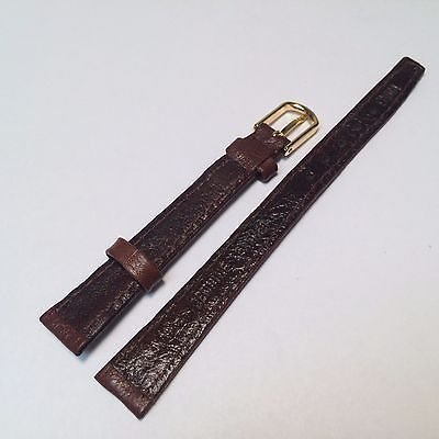 New Genuine Brown Leather Watch Band Strap ~11mm~ Gold Tone Buckle ~By West Band