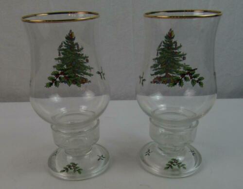 Spode Christmas Tree Hurricane Candle Set of 2 EUC ED07 - $28.00