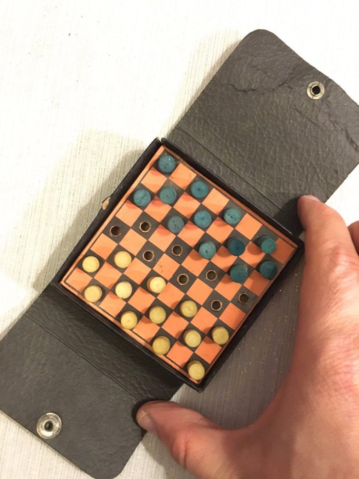 Vintage Peg-O Travel Peg Checkers in Paper Folding Case Pocket Size