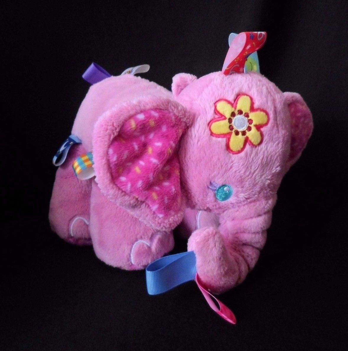 TAGGIES TAG-N-PLAY PALS PINK PLUSH ELEPHANT-BABY COMFORTER- SUPER SOFT TOY