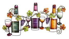 "36"" Vibrant Hued Grape Vine Wine Bottles and Glasses Metal Wall Art Scul... - $79.15"