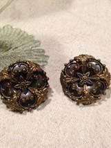 Vintage Jan Micheals Golden Bronze Button Clip On Earrings - $88.83