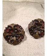 Vintage Jan Micheals Golden Bronze Red Jasper Button Clip On Earrings - $88.83