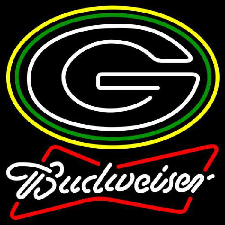 Nfl budweiser bowtie green bay packers neon sign 16  x 16