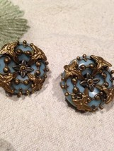 Vintage Jan Micheals Golden Bronze Green Aventurine Button Clip On Earrings - $88.83