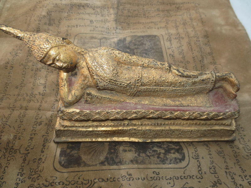 So Rare! Holy Gold Gilded Phra Pang-Sai-Yas Statue Top Magic Thai Buddha Amulets