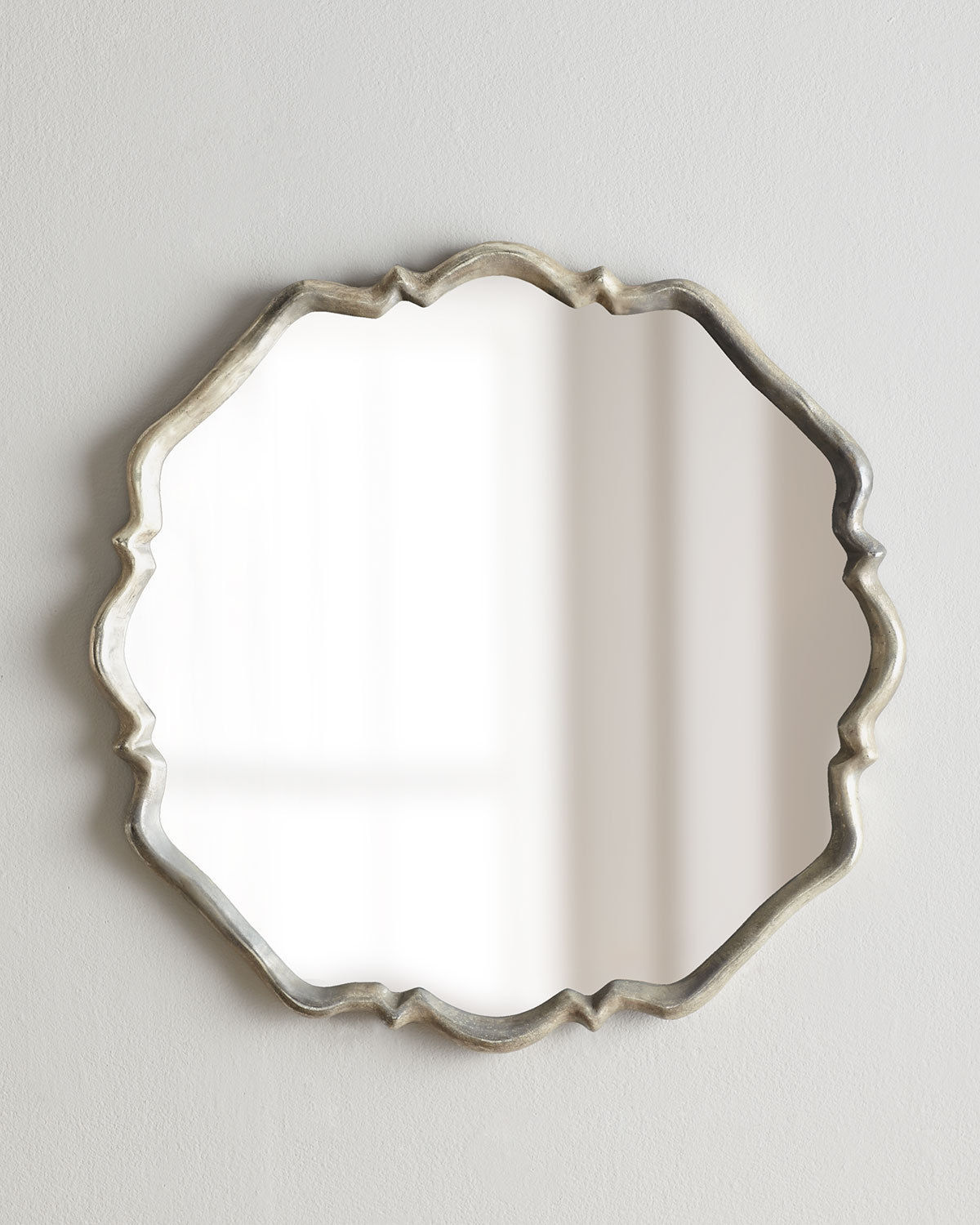 "HORCHOW 33"" SHAPED QUATREFOIL Wall Mirror Vanity Silver Square Valentia $524"
