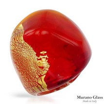 MURANO GLASS Made in Italy Brand New Cocktail Ring in 24K Two tone Muran... - $32.00