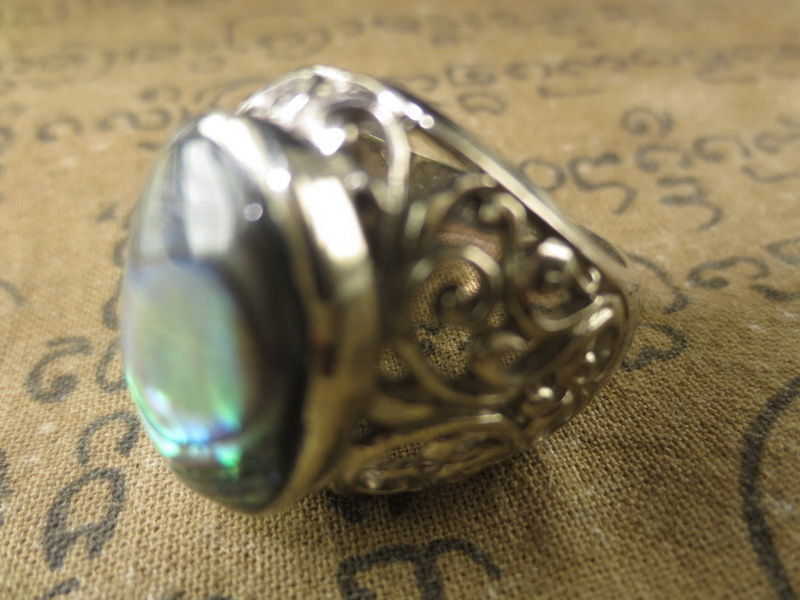 Very Rare! Magic Blessed Pearl Shell Ring Luck Protective Thai Buddha Amulets