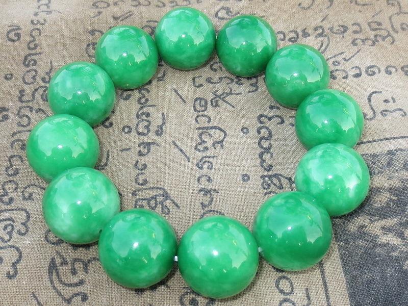 Very Nice Magic Strong Green Jade Stone Bracelet Supernatural Thai Buddha Amulet