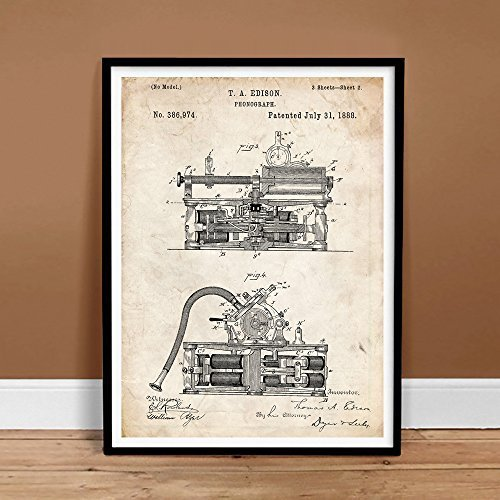 FIRST PHONOGRAPH EDISON INVENTION VINTAGE PATENT ART 18x24 POSTER PRINT 1888 ...
