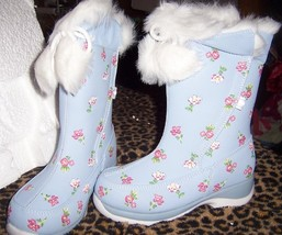 Lands End Girls Hurry Flurry Snow Boots Sea Blue SZ Youth 13 Medium NEW  - $22.00