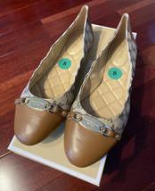 New Michael Kors Joyce Ballet MK Heritage Canvas Logo Natural Shoes sz 8;8.5;9.5 - $79.99