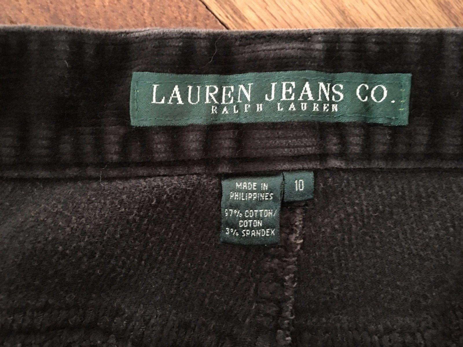 Lauren Jeans Co Ralph Lauren Womens Dark Gray Corduroy Pants Jeans Size 10