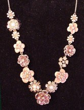 Rhinestone Enamel Pearl Floral Necklace Unsigned Gold-Tone - $29.95