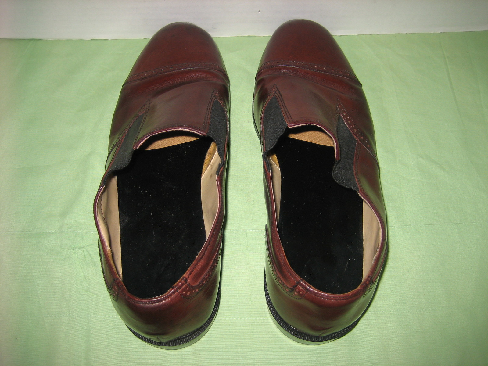 Men's Italy Made Brown Leather Captoe Brogue Loafers w/ Elastic Gores, 12 EE+