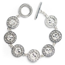 Sterling Silver Ornamental Filigree, scroll Link Bracelet Beaded Toggle ... - $249.99