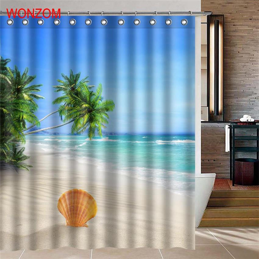 WONZOM Sea Landscape Shower Curtains For Bathroom Decor Modern Shell Waterproof  image 5