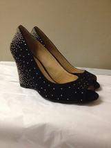 Women's Black Suede Gold Studded Gianni Bini Wedge Heels Size 6.5 New - $29.69