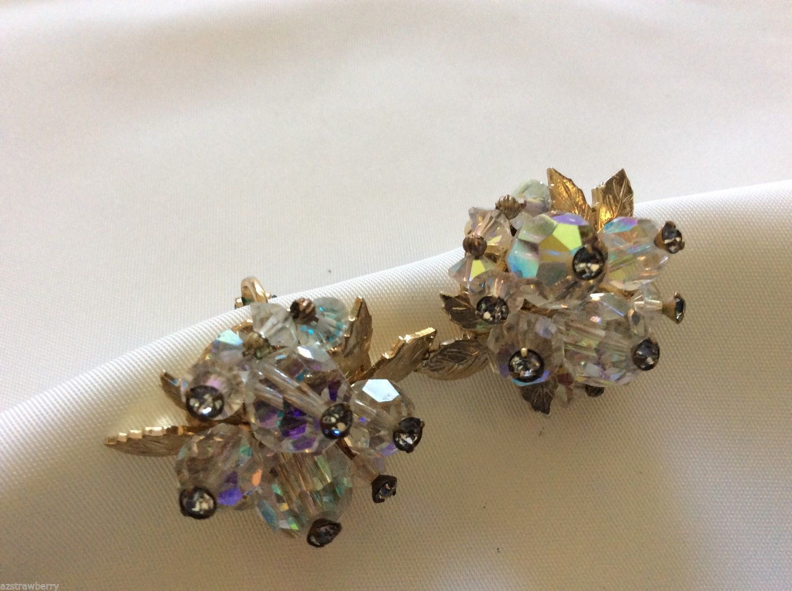 Vendome Fancy gold  tone Auroral Borealis Beaded cluster clip on Earrings