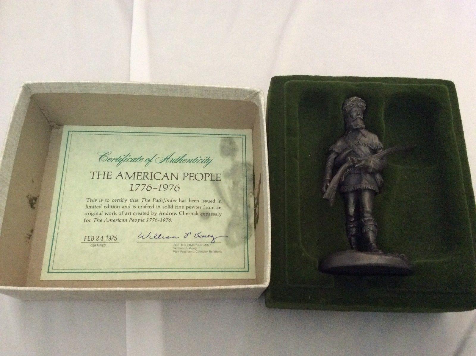 THE PATHFINDER AMERICAN PEOPLE 1776-1976 FRANKLIN MINT FINE PEWTER FIGURINE