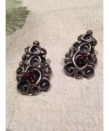 Nemesis Hand Made Garnet and Sterling Silver Clip on Earrings   - $112.20