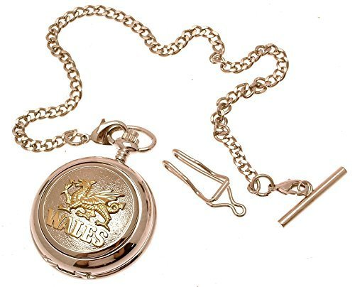Engraving included - Wales pocket watch pewter fronted mechanical two tone Dr...