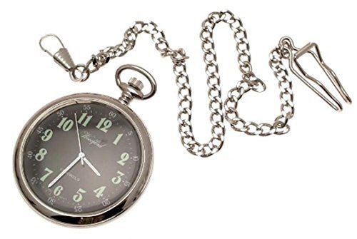 Engraving included - Reproduction WWI style mechanical pocket watch with blac...