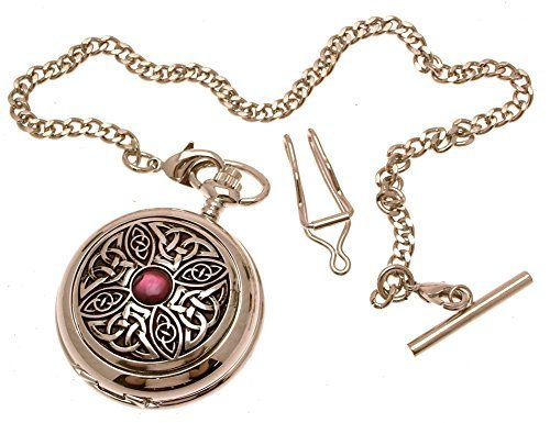 Engraving included - Solid pewter fronted quartz pocket watch - Celtic Knot w...