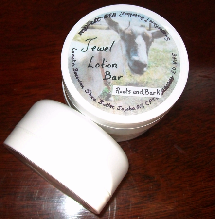 Roots and Bark Jewel Lotion Bar - moisturizing bar for hands, heels, elbows