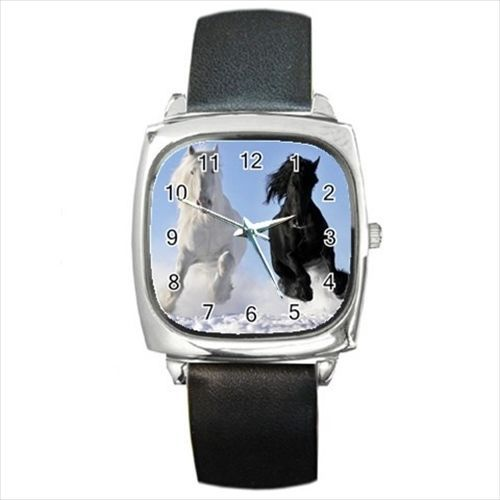 Black White Horses Stallions Round & Square Leather Strap Watch